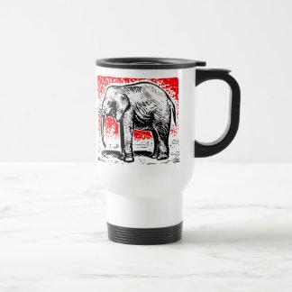 Elephant Woodcut Stainless Steel Travel Mug