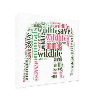 Elephant words cloud stretched canvas print