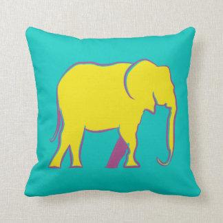 Elephant Yellow Neon Vibrant Silhouette Turquoise Cushion