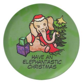 Elephantastic Colorful Cartoon Elephants Christmas Plate