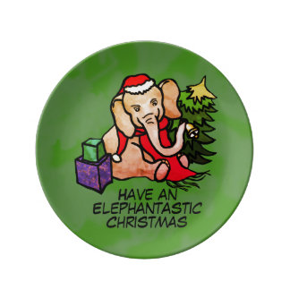 Elephantastic Cute Christmas Cartoon Elephant Plate