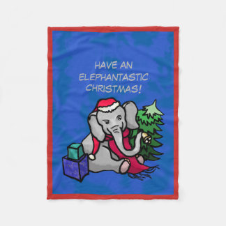 Elephantastic Santa Christmas Cartoon Elephant Fleece Blanket