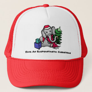 Elephantastic Slogan Cute Elephant Christmas Trucker Hat