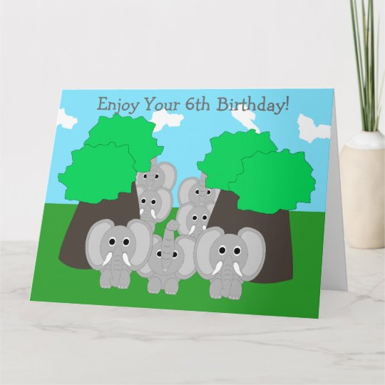Elephants 6th Birthday Card