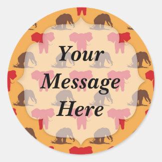 Elephants African Pattern Round Sticker