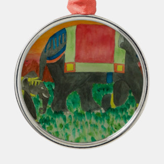 Elephants after the parade christmas ornament