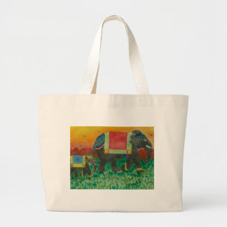 Elephants after the parade large tote bag