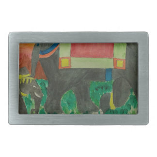 Elephants after the parade rectangular belt buckle