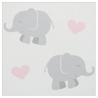 Elephants and Hearts Pattern | Pink and Gray Fabric