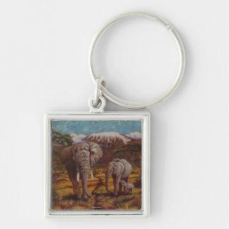 Elephants and Kilimanjaro Key Chain