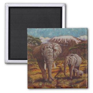 Elephants and Kilimanjaro Magnet