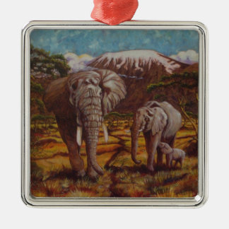Elephants and Kilimanjaro Ornament