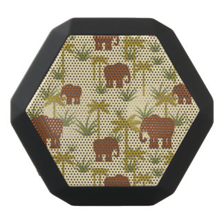 Elephants And Palms In Camouflage Black Bluetooth Speaker