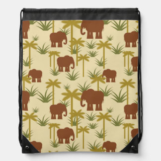 Elephants And Palms In Camouflage Drawstring Bag