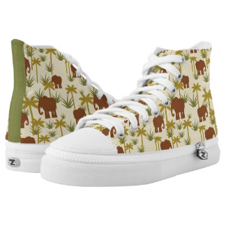 Elephants And Palms In Camouflage High Tops