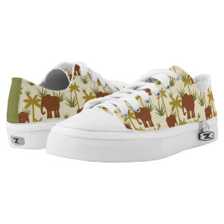 Elephants And Palms In Camouflage Low Tops