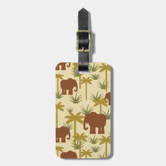 Elephants And Palms In Camouflage Luggage Tag