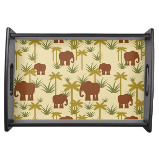 Elephants And Palms In Camouflage Serving Tray