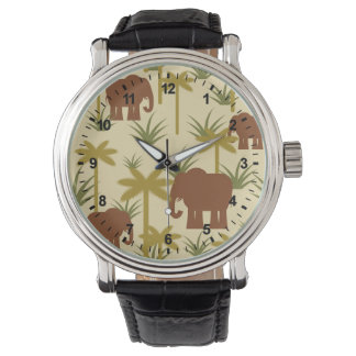 Elephants And Palms In Camouflage Wristwatches