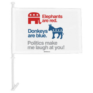 ELEPHANTS ARE RED. DONKEYS ARE BLUE. CAR FLAG