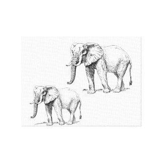 Elephants Artwork Stretched Canvas Prints