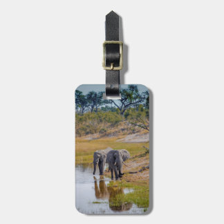 Elephants at a Waterhole Luggage Tag