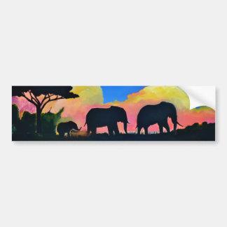 Elephants At Dusk Bumper Sticker