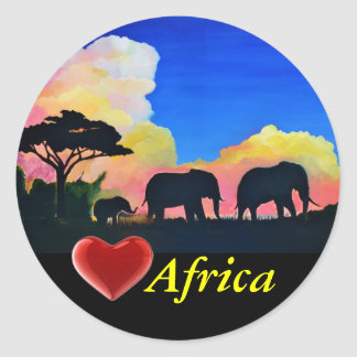 Elephants At Dusk Classic Round Sticker