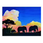 Elephants At Dusk Postcard
