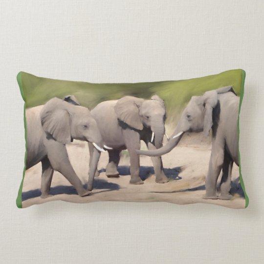 Elephants At Play Lumbar Cushion