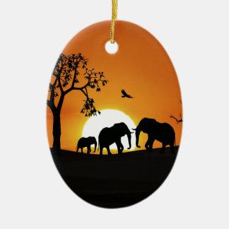 Elephants at sunset christmas ornament