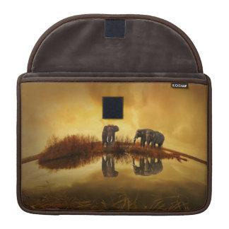 Elephants At Sunset Reflection Macbook Pro Sleeve