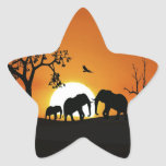 Elephants at sunset star sticker