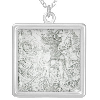 Elephants at War Silver Plated Necklace