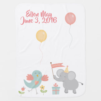 Elephants Balloons Celebrate New Baby Blanket