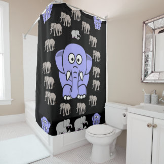 elephants children's shower curtain black gray