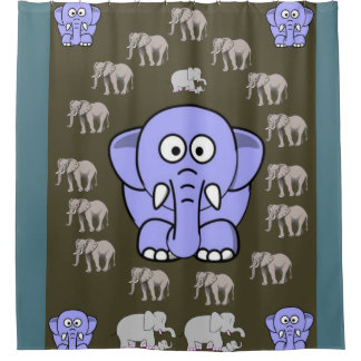 elephants children's shower curtain blue brn