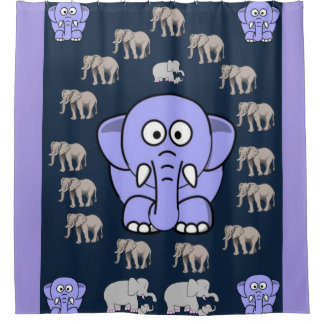 elephants children's shower curtain dk blue