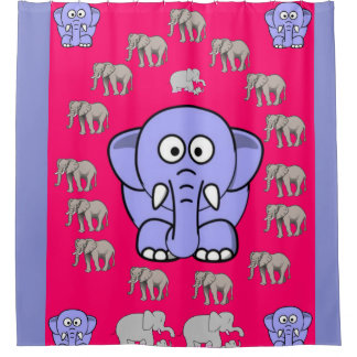 elephants children's shower curtain pink