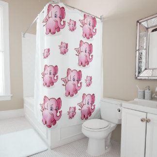 elephants children's shower curtain pink white