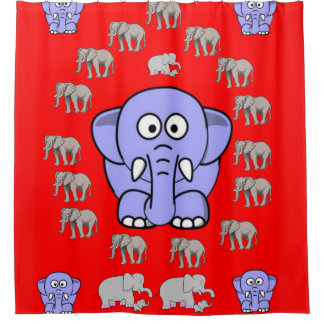 elephants children's shower curtain red