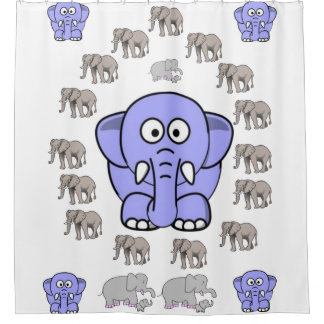 elephants children's shower curtain white