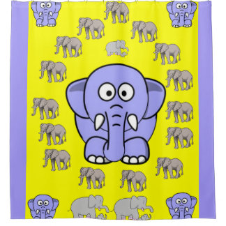 elephants children's shower curtain yellow