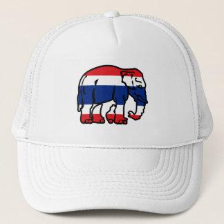 Elephants Crossing Flag ⚠ Thai Road Sign ⚠ Trucker Hat