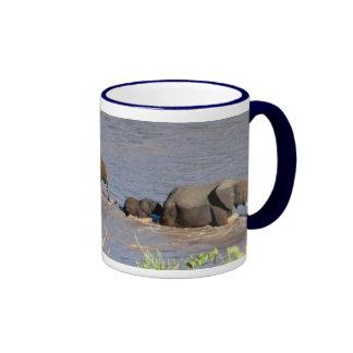 Elephants crossing Tarangire River (MIRROR) Mug