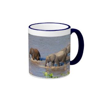 Elephants crossing Tarangire River Mug