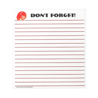 Elephants Don't Forget (Custom Notepad) Notepad