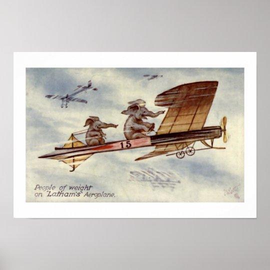 Elephants Flying Plane Wall Art
