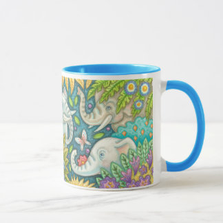 Elephant's Garden Folk Art RHandle Mug Susan Brack