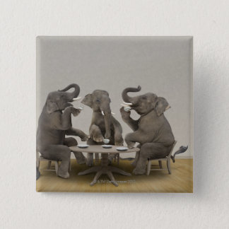 Elephants having tea party 15 cm square badge
